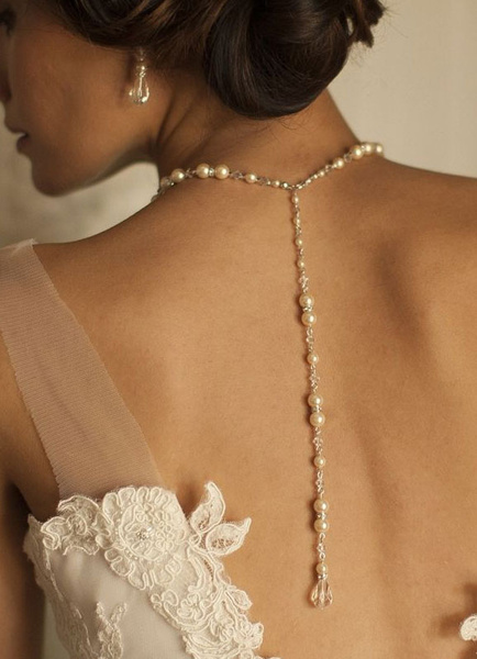 Wedding Backdrop Necklace White Pearl Bridal Jewelry
