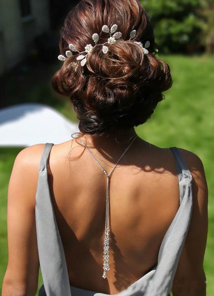 Wedding Backdrop Necklace White Pendant Bridal Jewelry For Women