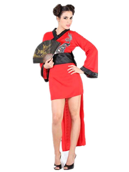 Sexy Ninja Costume Halloween Women's Red High Low Dragon Printed Dress With Sash фото