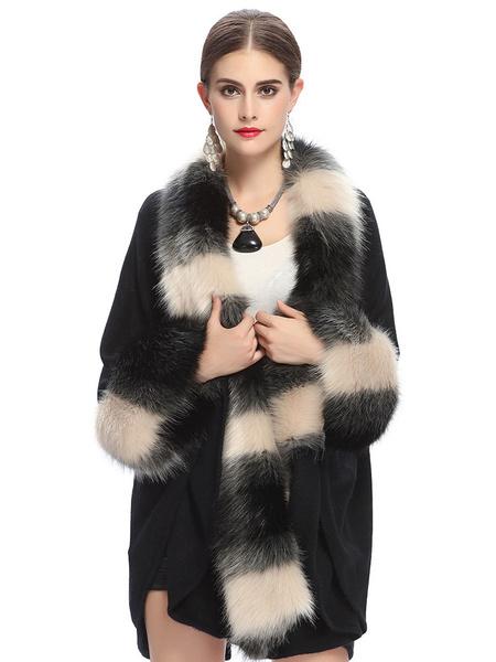 Milanoo / Cabo Brown abrigo chaqueta de piel falsa manga larga cuello adornado gran tamaño abrigo mujer