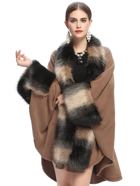 Brown Cape Coat Women's Faux Fur Long Sleeve Embellished Collar Oversized Coat фото
