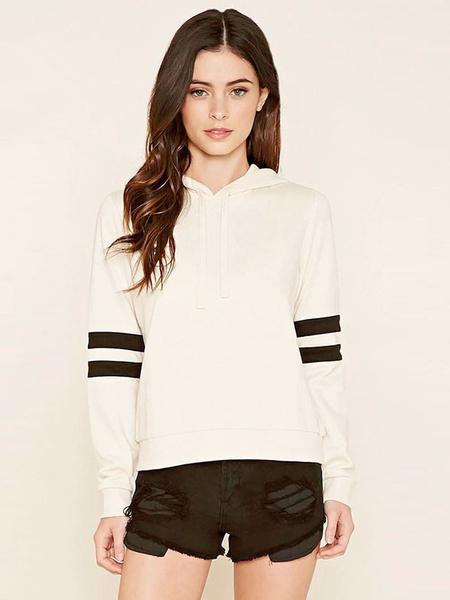 Женский пуловер с капюшоном с длинным рукавом полосатый хлопка drawstring толстовка с капюшоном в белый/черный/красный