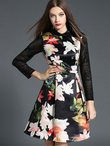Black Skater Dress Printed Long Sleeve Women's Lace Patchwork Pleated Flare Dress Milanoo