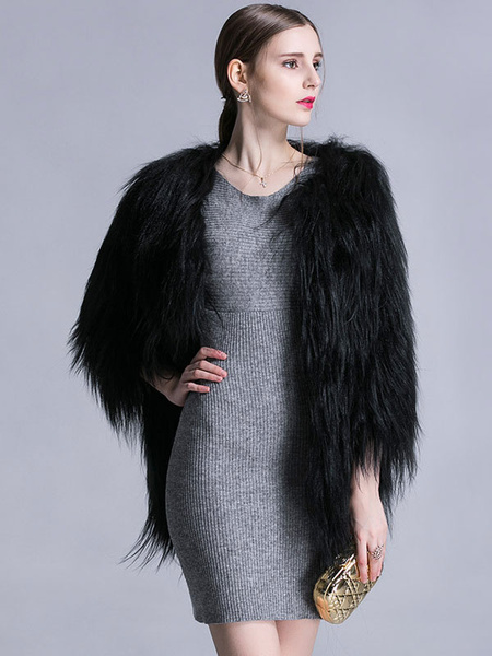 Faux Fur Coat Black Jewel 3/4 Length Sleeve Oversized Winter Coat фото