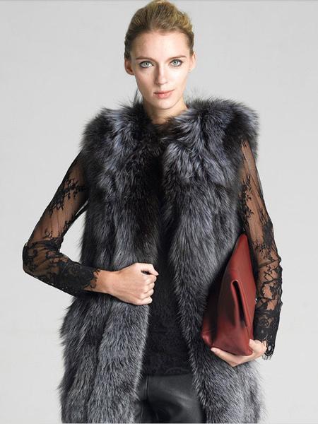 Faux Fur Coat Women's Grey Sleeveless Jewel Neckline Winter Vest