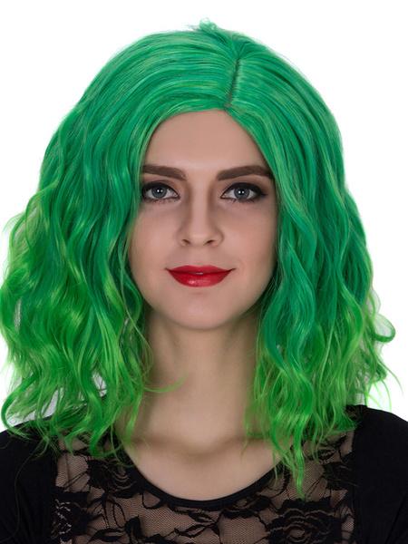Halloween Women's Wigs Green Wavy Shoulder Length Side Parting Hair Wigs фото