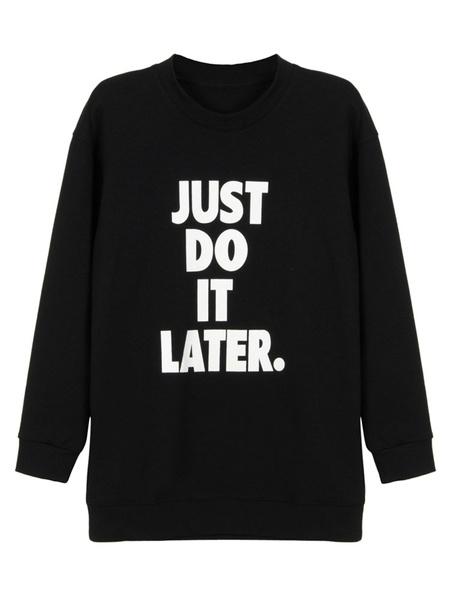 Women's Black Hoodie Letter Print Round Neck Casual Cotton Sweatshirt