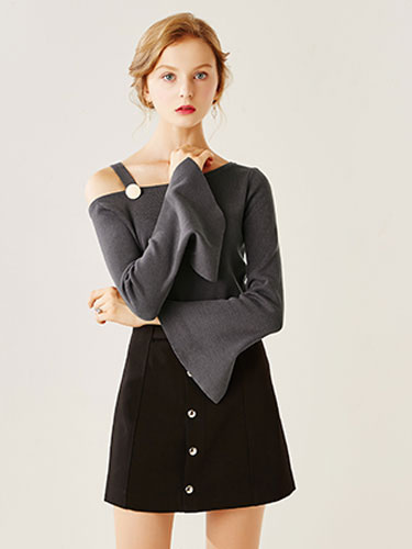 Sexy Grey Shirt Women's Slit Flared Long Sleeve Buttoned One Shoulder Cotton Knitwear фото