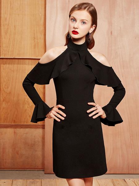 Petite robe noire Bodycon Robe choker Robe gaine à bandoulière à manches longues pour femmes