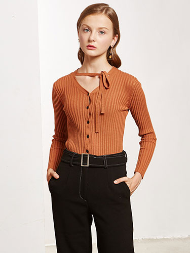 Women's Cardigan Sweater V Neck Tan Button Long Sleeve Lace Up Casual Top фото