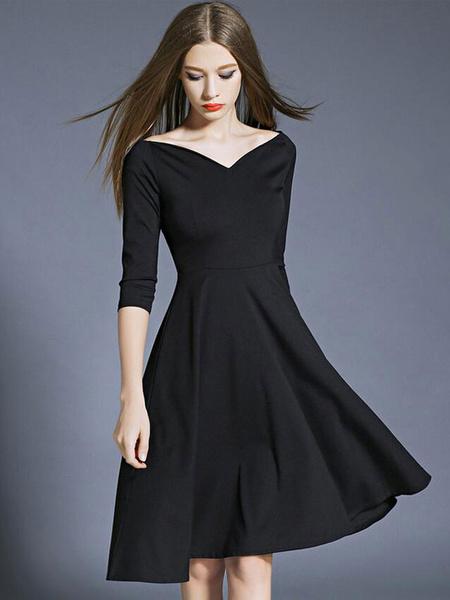 Little Black Dress Women's Pleated Half Sleeve Sweetheart Flare Skater Dress Milanoo