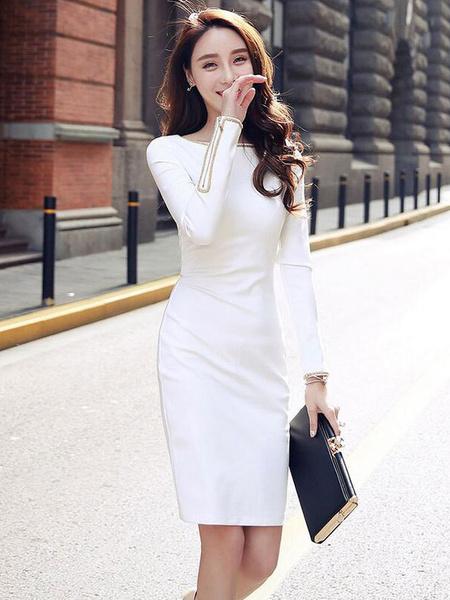 White Bodycon Dress Chic Round Neck Long Sleeve Slim Fit Shaping Sheath Dress фото
