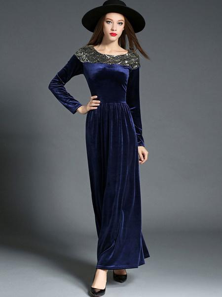 Women's Maxi Dress Velvet Deep Blue Long Sleeve Sequins Round Neck Slim Fit Long Dress фото