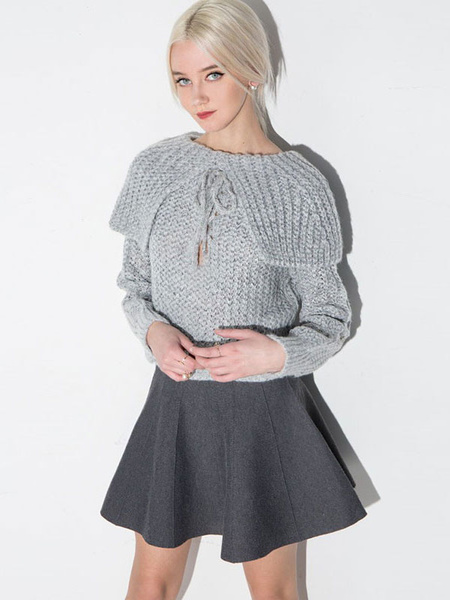 Grey Knit Sweater Women's Rolled Collar Lace Up Fit Pullover Sweater фото