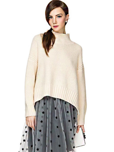 White Pullover Sweater High Collar Long Sleeve High Low Slit Knit Top фото