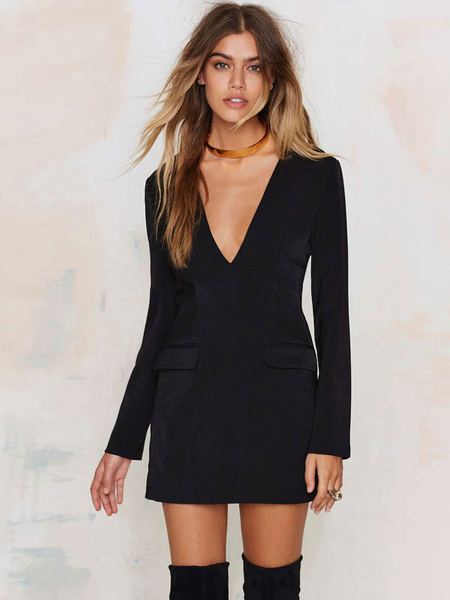Black Bodycon Dress Deep V Neck Long Sleeve Blazer Dress With Contrast Pockets