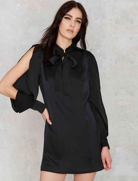 Black Shift Dress Women's Long Sleeve Open Shoulder Stand Collar Shirt Dress With Bow фото