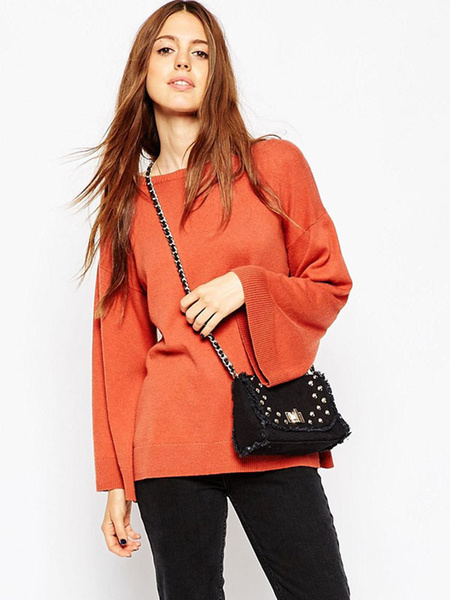 Женская пуловер свитер шикарный оранжевый бандо с расклешенной длинным рукавом вязаный топ