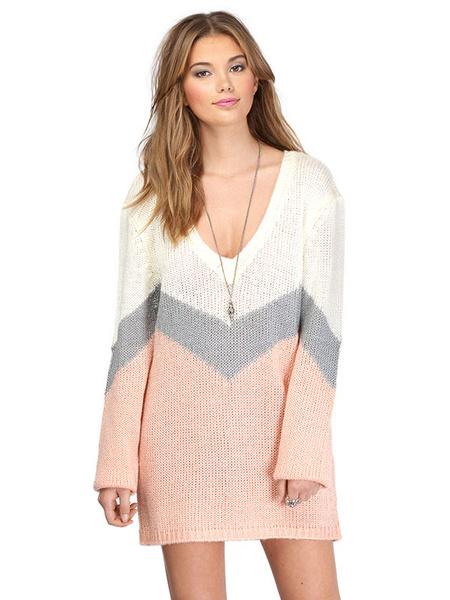 Women's Sweater Dress Boyfriend Style Multicolor V Neck Long Sleeve Striped Shift Dress фото