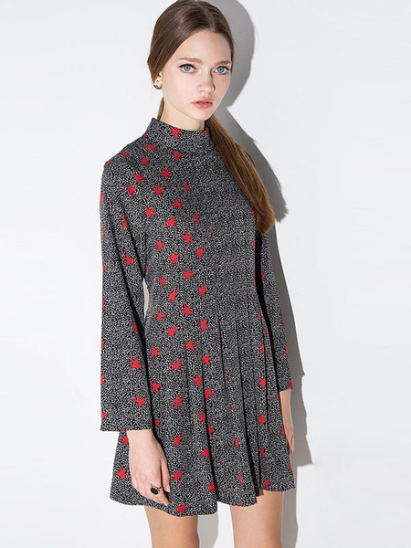 Women's Skater Dress Black & Red High Collar Long Sleeve Star Printed Slim Fit Flare Dress фото