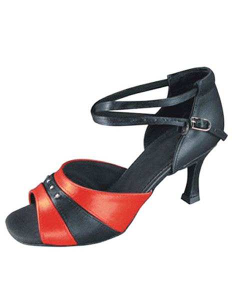 Two Tone Ballroom Shoes Peep Toe Ankle Strap High Heel Dance Shoes For Women фото