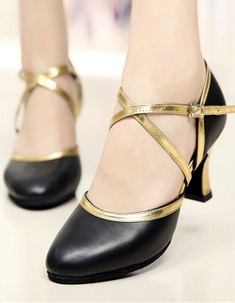 Leather Ballroom Shoes Women's Round Toe Flared Heel Two Tone Dance Shoes With Criss Cross Strap фото