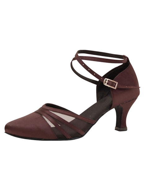 Women's Ballroom Shoes High Heel Brown Buckle Strap Adjustable Pointed Toe Dance Shoes фото