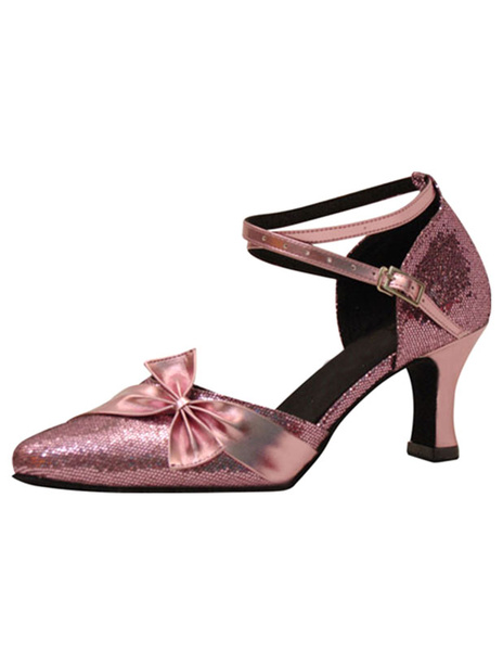 Glitter Ballroom Shoes Pointed Toe Bow High Heel Ankle Strap Pink Sexy Dance Shoes For Women фото