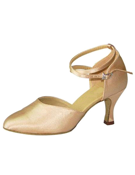 Milanoo / Zapatos de bailes latinos de satén de color albaricoque color liso