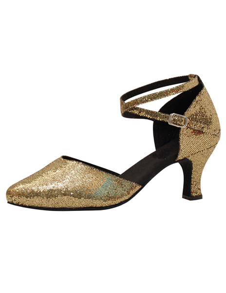 Glitter Ballroom Shoes Gold High Heel Women's Pointed Toe Ankle Strap Dance Shoes фото
