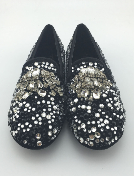 Suede Men's Loafers Crystal Studs Flat Shoes Rhinestones Black Slip On Shoes фото