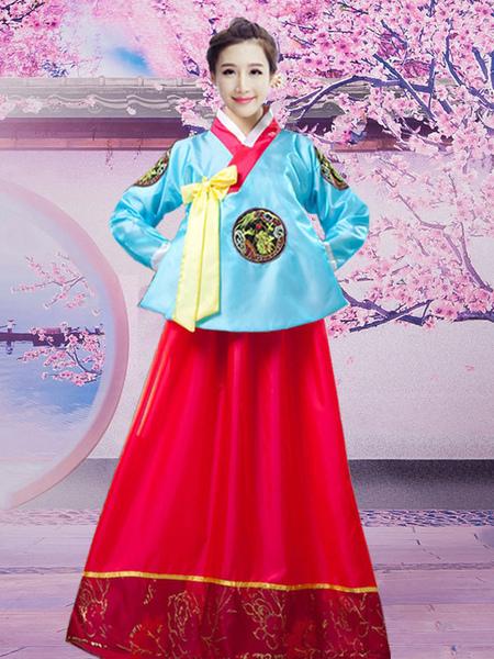 Halloween Korean Costume Traditional Women's Satin Hanbok Dance Dress фото