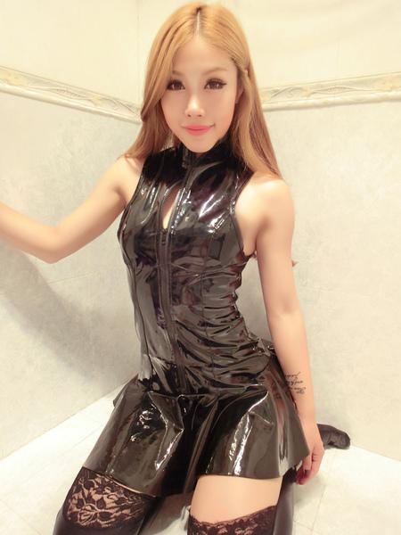 Halloween Catsuit Costume Black Shiny Sleeveless Slim Fit Skater Dress For Women фото