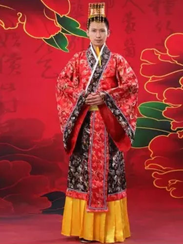 Halloween Chinese Costume Fancy Dress Imperial Robe Ancient Costume Empress Red Satin Gown Set In 3 фото