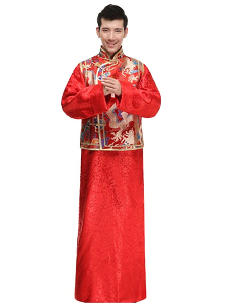 Halloween Chinese Costume Bridegroom Dragon Embroidered Men's Red Ancient Robe Costume фото