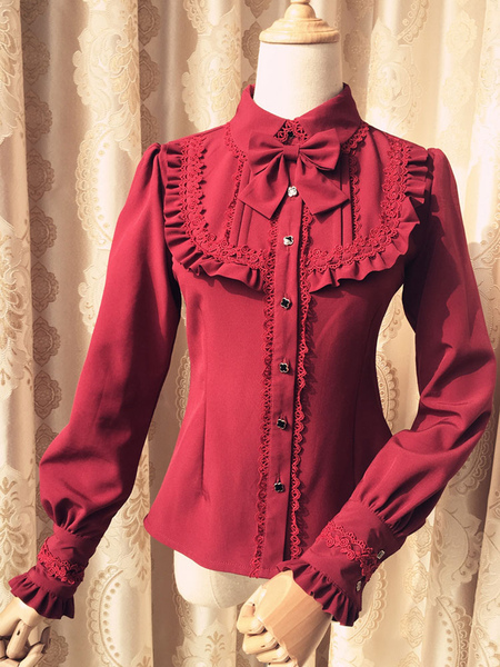 Sweet Lolita Blouse Red Long Sleeve Turndown Collar Bow Ruffled Winter Lolita Shirt фото