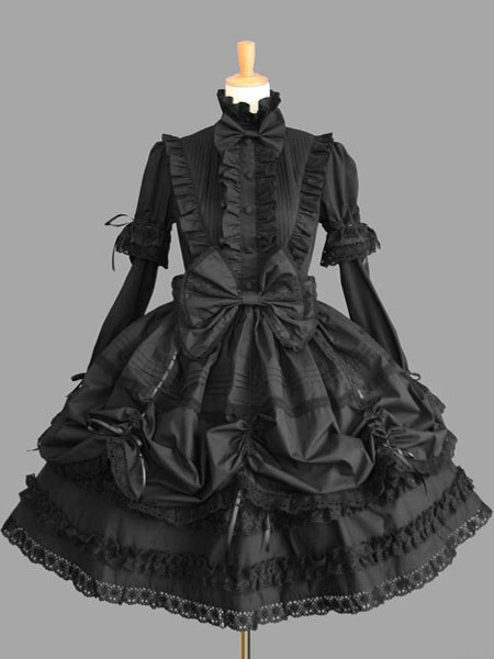 Sweet Lolita Dress OP Black High Collar Puff Long Sleeve Cotton Lace Ruffled Bow Lolita One Piece Dr фото