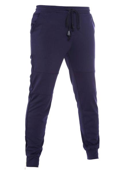 Men's Jogger Pants Navy Drawstring Straight Leg Elastic Cotton Trousers фото