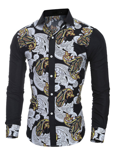 Men's Casual Shirt Long Sleeve Turndown Collar Multicolor Cotton Shirt фото