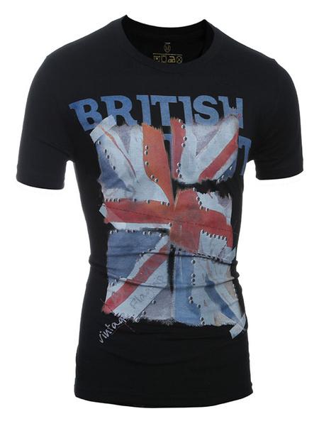 Black T Shirt Men's Flag Print Crewneck Short Sleeve Fit Cotton T Shirt фото