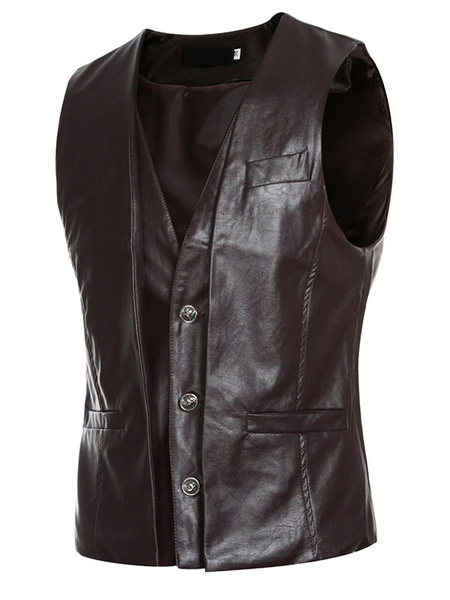 Black Leather Vest Men's Turndown Collar Button Down Fit Vest фото
