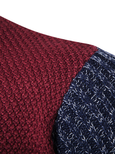 Milanoo / Herren Pullover Pullover Colorblock Rundhals Slim Fit Pullover
