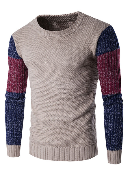 Men's Knit Sweater Color Block Round Neck Slim Fit Pullover Sweater фото