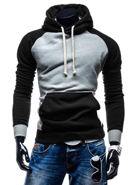 Image of Men's Pullover Hooded Long Sleeve Raglan Slim Fit Casual Hooded