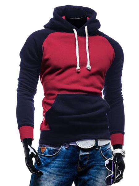 Мужской пуловер с капюшоном с длинным рукавом реглан тонкий Fit свободного покроя с капюшоном