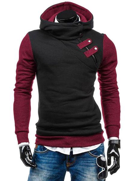 Мужской пуловер с капюшоном косой молнией пряжки контраст цвета хлопок балахон