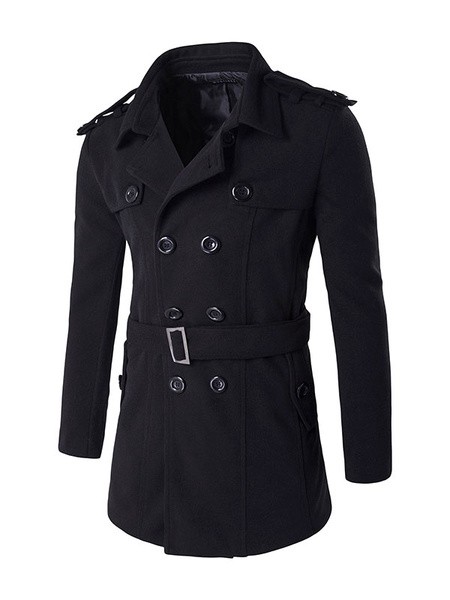 Black Pea Coat Long Sleeve Turndown Collar Double Breasted Men's Outwear With Belt