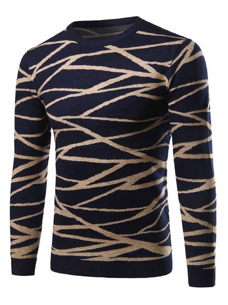 Мужской пуловер свитер темно-синий круглый шеи полосатый тонкий подходят трикотаж