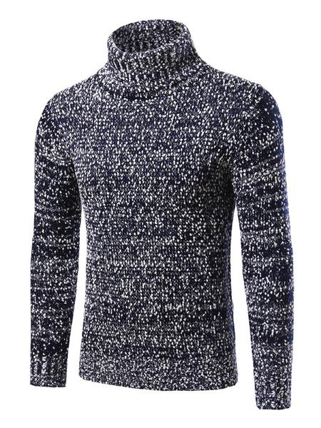 Мужской пуловер свитер темно-синий водолазка с длинным рукавом тонкий подходят трикотаж