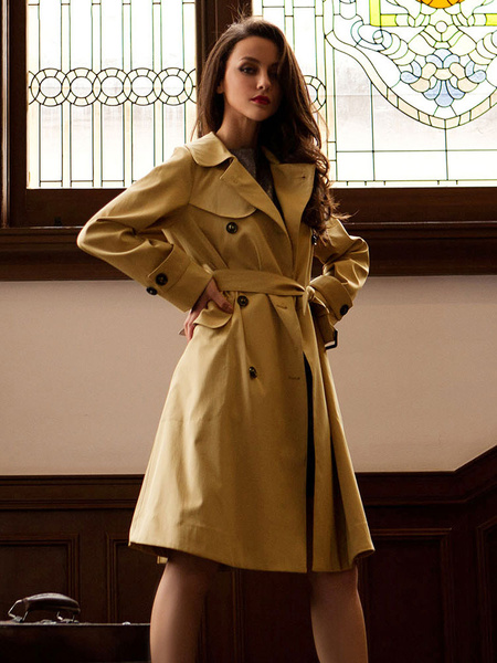 Women's Trench Coat Double Breasted Windproof Long Plus Size Outwear With Belt фото